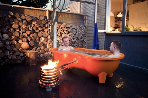 Portable Wood-Burning Hot Tub for 2: Dutchtub Loveseat
