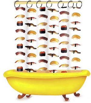 Non-Edible Sushi Products: Sushi Shower Curtain