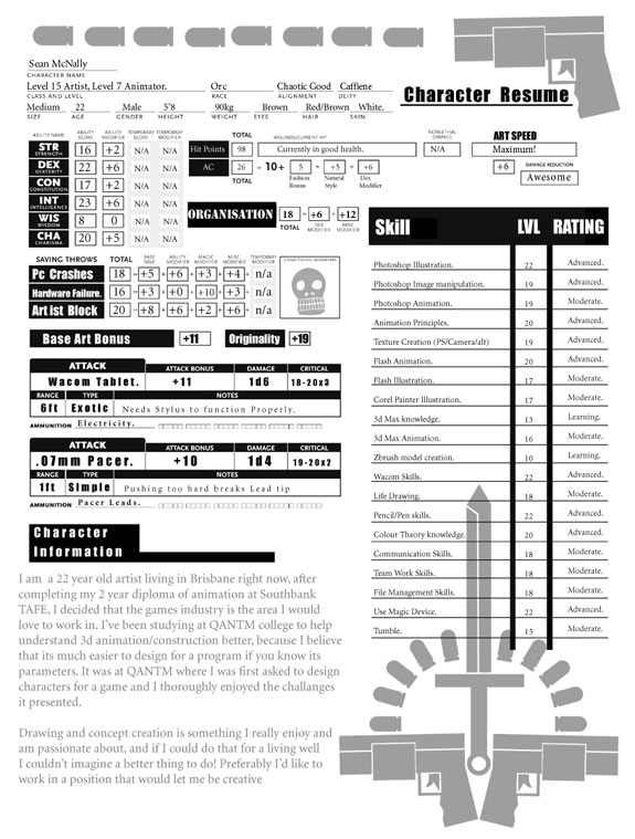 Amazing Resumes: Dungeons & Dragons Character