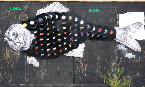 Unusual House Roof Shingles: Vinyl Records, fish art