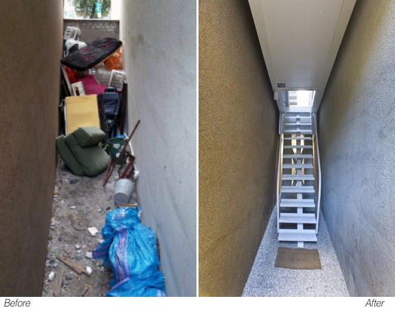 Keret House Alley - before and after