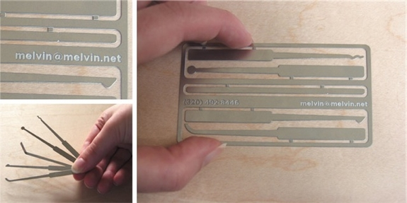 Useful, Unusual Business Cards: Lock Pick Business Cards