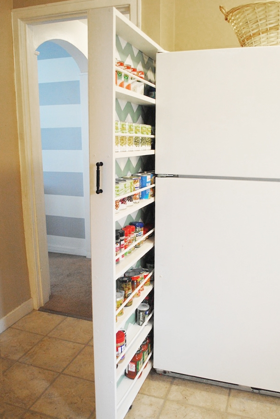 Kitchen Organizing Ideas: DIY sliding storage kitchen door