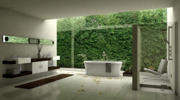 Unusual Bathroom Designs: green wall